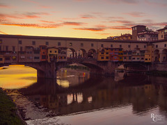 Ponte Vecchio Pastels (RobertCross1 (off and on)) Tags: 20mmf17panasonic arno em5 europe firenze florence italia italy omd olympus pontevecchio toscana tuscany architecture atardecer bridge buildings city cityscape clouds dusk landscape medieval puestadelsol reflection river sunset twilight urban water