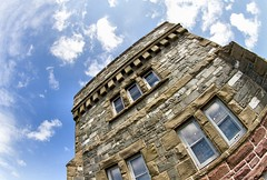 Cabot Tower (Karen_Chappell) Tags: cabottower signalhill architecture brick stone building nationalhistoricsite stjohns canada atlanticcanada avalonpeninsula fisheye canonef815mmf4lfisheyeusm clouds sky angle tilt windows parkscanada