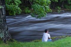 Rushing By (Bryan Flynn) Tags: riverside croutching watching riverrushing longexposure river