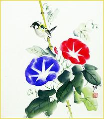 Japanese morning glory and tit (Japanese Flower and Bird Art) Tags: flower morning glory ipomoea nil convolvulaceae bird tit paridae isao akita nihonga shikishi japan japanese art readercollection