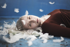 Feather (Andrea Peipe) Tags: lovezig15 feather pool white blue beauty lighthair intense abandoned