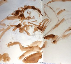 Early morning sketchbook. Quite moments with the sound of birds... (Dorian Vallejo) Tags: art fine drawing figure mixed media drawings oil painting dorian vallejo