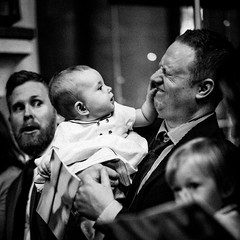 Discovering fathers face (Hans Dethmers) Tags: chruch father daughter baby exhaustion humor fun