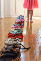 Bare Feet (Maggggie - Ask about Take Aim Group) Tags: shoes girl pink tutu floor 365 line row colorful 117in2017 vertical