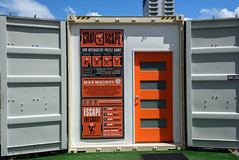 Crate Escape .. (Jocey K) Tags: newzealand nikond750 southisland christchurch crateescape shippingcontainer words sign door sky