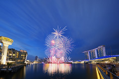 2017 NDP Fireworks Rehearsal Jul08 Attempt 1 5D4 1124 (yimING_) Tags: red fireworks nationaldayparade landscape cityscape marinabaysands mbs marinabay fullertonbayhotel esplanade singapore bluehour longexposure promontory