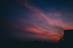 hot summer evenings (viewsfromthe519) Tags: sky skyscape sunset moon clouds rise tree silhouette baseball field stthomas ontario canada dougtarry blue red purple orange golden yellow lights