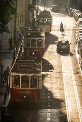 1, 2, 3 (dlerps) Tags: daniellerps europe lerps lisboa lisbon portugal sigma sony sonyalpha sonyalphaa77 lerpsphotography bairroalto bairro street streets road traffic traintracks tracks straight cablecar train tram trams 3 three row publictransport transport transportation sunset