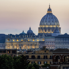 St. Peter's Basilica from the Pincian (JWY80) Tags: pincio rome roma italy italia goldenhour evening summer basilica church chiesa kirche stpetersbasilica sanpietro duomo dome