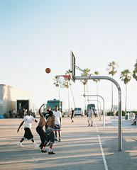 Venice Beach Basketball (PeterStout) Tags: pentax6x7 pentax105 venicebeach kodakportra160 portra160pushed1 basketball