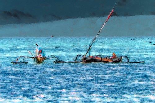Indonesia - Bali - Outrigger Fishing Boats - 87bb