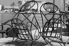 Just for us (thierry_meunier) Tags: france sete architecture bar blackandwhite café canal chairs chaises courbes curves harbour mer metal noiretblanc port rue sea street terrace terrasse travel voyage