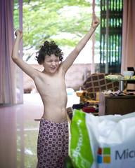 Jethro's 11th Birthday@Home 5 (C & R Driver-Burgess) Tags: present gift birthday boy bare chest pyjama trousers flannelette joyful celebration bokeh tree balcony sunlight morning breakfast xbox game computer