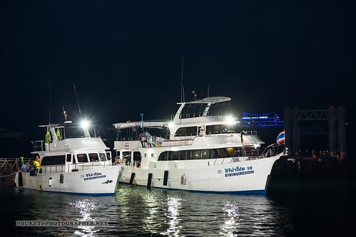Yachts at night, Chalong Bay, Phuket