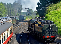 Summertime at Bridgnorth (simmonsphotography) Tags: railroad locomotive steam engine uksteam train severnvalley svr bulleid pacific lightpacific br gwr sr 7800class manor 34027 7802 tawvalley bradleymanor preservation heritage yard