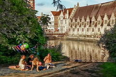 Sunday afternoon in Ghent, Flanders, Belgium (Janos Kertesz) Tags: architecture building old canal river europe city tourism water town belgium house ghent travel houses belgien gent