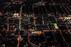 The Cleveland Clinic Campus (Victor Dvorak) Tags: clevelandclinic cleveland ohio nightphotography aerialphotography flying windowseat nikon d300s 20mmf28d