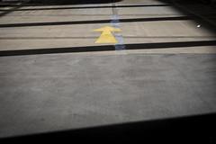 Get Out (margaretsdad) Tags: barron d7100 edinburgh midlothian scotland scott scottbarron uk car park carpark light bright sun sunshine abstract lines black white contrasts dark darkandlight arrow yellow direction forward oneway directional parallellines
