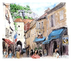 Rocamadour - Aquitaine - France (guymoll) Tags: rocamadour france croquis sketch rue aquarelle watercolour watercolor foiegras aquitaine