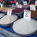Bags of rice beans and sugar with prices in a market, Gorno-Badakhshan autonomous region, Khorog, Tajikistan