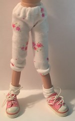 White With Little Pink Flowers...Leggings For Blythe...