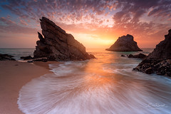 Praia da Adraga (Portugal) (Eric Rousset) Tags: praiadaadraga portugal phototour shorescape shore sky cloudy sintra rocks sunset clouds waterscape seascape nisi longexposure filtrenisicplnclandscape landscape paysage europe 2017 ericrousset canon canoneos5dmarkii canonef1740mmf4lusm photography portefiltrev5pro nisifiltersfrance filtrenisignd8093stopssoft spring poselongue outdoorphotography filtregnd16124stopssoft
