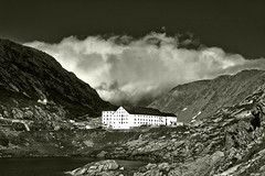 The Hospice of Grand Saint-Bernard in Summer's Stormy time  No. 2244 Black & White. (Izakigur) Tags: liberty izakigur flickr feel europe europa dieschweiz gransanbernardo grossersanktbernard greatstbernardpass ch helvetia lasuisse musictomyeyes nikkor nikon suiza suisse suisia schweiz romandie suizo swiss svizzera سويسرا laventuresuisse suïssa summer switzerlnad myswitzerland coldugrandsaintbernard coldumontjoux grosserstbernhard lepetitprince colledelgransanbernardo montmort stormy