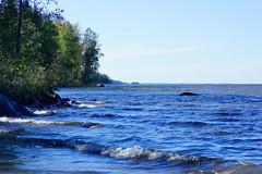 Summer light blues (Joni Mansikka) Tags: summer nature outdoor lake view lakeside blue water sky green leaves trees horizon landscape pyhäjärvi yläne suomi suomi100 finland finland100 tokinaaf2880mmf28