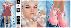 Look 082 (☯Two Faces One Soul☯) Tags: supernatural mooh 7deadlyskins azdesign unicornposes ~darkinnocence~ safira secondlife sl beauty dress fashion blog blogger jewelery shoes boots girl princess aquamarine pink