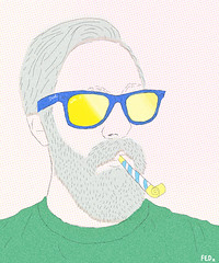 Guy blowing party horn (faceseveryday) Tags: art illustration drawing redditgetsdrawn portrait photoshop caucasian sketch scribble male boy man guy moustache beard partyhorn glasses popart