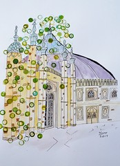 Brighton Royal Pavilion with bubbles (covert Art) Tags: art painting pen ink watercolour brighton bubbles abstractart royalpavilion