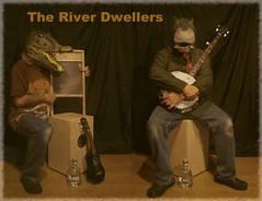 the river dwellers (horsesqueezing) Tags: masks crocodile hippo ukulele banjo gin band music oldfriends selfportrait selfie