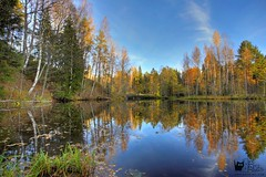Autumn Reflection (veronikadenikina) Tags: area autumn backgrounds beautiful beauty blue bush clear cloud cold color colored conservation environmental extreme foliage forest green heaven image lake landscape leaf lush morning multi nature nonurban north october outdoors park pond reflection river rocky rural scene scenics season sky terrain tranquil travel tree water wilderness wood woods