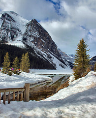Lake Louise, Banff National Park, Alberta, Canada - ICE(5)1479-80 (photos by Bob V) Tags: banff banffpark banffnationalpark banffalberta banffalbertacanada mountains rockymountains rockies canadianrockies panorama mountainpanorama lakelouise mountainlake reflection reflectiononwater snow springthaw spring