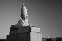Sphinx (VladimirTro) Tags: россия санктпетербург russia saintpetersburg street sky bw monochrome monument outdoor 500d canon europe sphinx cityscape eos dslr photo photography