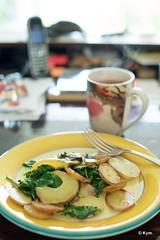 Lunch (Kym.) Tags: adlib cooking cream cup desk food fork green greentea improvisation improvised kymskitchen lunch mug potato quickfix red spinach tea yellow amsterdam thenetherlands veg vegetarian veggie