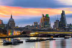 City Pride (JH Images.co.uk) Tags: london stpauls skyline bridge city cityscape sunrise sky skyscrapers riverthames hdr dri church architecture boats river thames pride