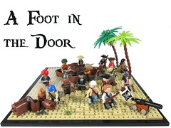 A foot In The Door (Jacob Nion) Tags: lego pirate bobs eurobricks island caribbean conquer morgan captain moc vignette beach diorama toy palmtree ship jollyroger