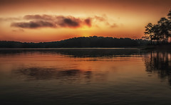 Just before the sun rises (7681) (jim fleckenstein) Tags: sunrise orange reflection canon lakelanier 70d northgeorgia hiking serene quiet stillness bigsky
