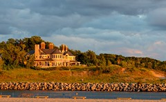 Beach House on Lake Michigan (linda_lou2) Tags: 52weeksof2017 week25 themearchitecture categorytechnique ottawabeach hollandstatepark channel lakemacatawa house mansion sunset architecture building beach lakemichigan
