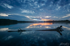 Wilcza Wola (Geoffrey Gilson) Tags: lake poland sunset reflections long epxosure sky clouds drama nohdr log tree composition