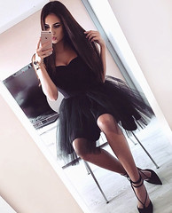 A-Line Straps Pleats Short Black Tulle Homecoming Dress (Victoria~93) Tags: black tulle homecoming dress fashion tutu short dresses women
