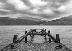 Lomonds Lost Jetty (philiplivesey) Tags: blackwhite cloudy inveruglas jetty loch lochlomand nationalpark scotland water