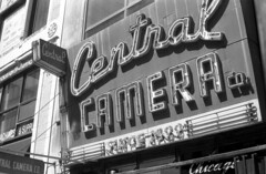 Iconic central camera (bergytone) Tags: film bw blackandwhite olympus om om2n kentmere 100 xtol chicago loop downtown central camera store sign