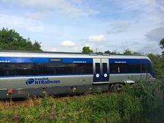 """Racing"" 4007, Coleraine, July 2017 (nathanlawrence785) Tags: nir translink caf train 4000 3000 class dmu londonderry coleraine portrush branch junction antrim railway station"