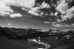 Cottonwood Pass, Black and White (Kevin VanEmburgh Photography) Tags: adventure co colorado kevinvanemburghphotography ontheroad outdoors outside salida travel mountains cottonwoodpass explore mountainrange rockies rockymountains blackandwhite bw landscape landscapephotography landscapephotographer mountainphotographer road windingroad sroad clouds contrast 14er