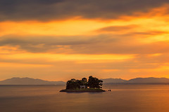sunset 3879 (junjiaoyama) Tags: japan sunset sky light cloud weather landscape orange contrast colour bright lake island water nature spring