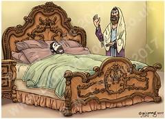 2 Kings 20 - Hezekiah's illness - Scene 01 - Bad news (Martin Young 42) Tags: 2kings 2kings201 prophet isaiah king hezekiah illness prophecy bed