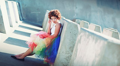 Spectrum (Kelly McCarthy Photography) Tags: woman model beautiful beauty rainbow tutu rainbowtutu colorful urban photography photoshoot fashion style glasses pose portrait portraiture outdoors catchycolorsred catchycolorsblue catchycolorsyellow skirt light shadows lightandshadow mod retro