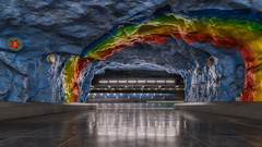 Under the Rainbow (Andrew G Robertson) Tags: stadion stockholm metro underground sverige sweden rainbow canon1124mm train station motion blur canon5dmkiv 5d canon mk4 mkiv empty ostermalm